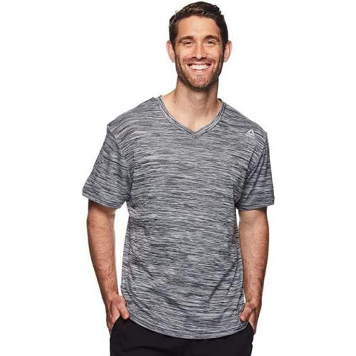 Reebok Men's V-Neck Workout Tee - Short Sleeve Gym & Training Activewear T Shirt-Medium